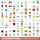 100 nursery icons set, flat style Royalty Free Stock Photo