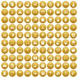 100 nursery icons set gold. 100 nursery icons set in gold circle isolated on white vectr illustration Stock Illustration