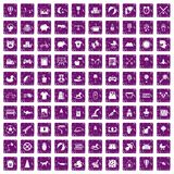 100 nursery icons set grunge purple. 100 nursery icons set in grunge style purple color isolated on white background vector illustration Royalty Free Stock Images