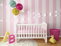 Nursery interior. A 3d image of a nursery interior, children room interior Royalty Free Stock Photography