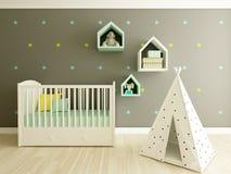 Nursery interior. A 3d image of a nursery interior, children room interior Royalty Free Stock Photos