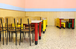 Nursery lunchroom with small chairs and dining table Stock Photography