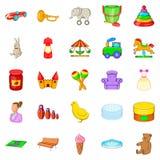 Nursery maid icons set, cartoon style. Nursery maid icons set. Cartoon set of 25 nursery maid vector icons for web isolated on white background Royalty Free Stock Photography