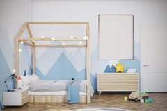 Baby boy s room with a poster Royalty Free Stock Photo