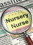 Nursery Nurse Job Vacancy. 3D. Newspaper with Small Advertising Nursery Nurse. Nursery Nurse - Close Up View Of A Classifieds Through Magnifier. Concept of Stock Image