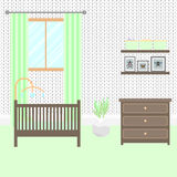 Nursery room with furniture. Baby interior. Royalty Free Stock Photo