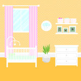 Nursery room with furniture. Baby interior. Royalty Free Stock Image