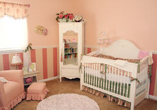 Nursery Room for a girl. A nursery for a baby girl's room is mostly in pink Stock Photography