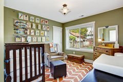 Nursery room in light green Stock Image