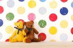 Nursery room. Vintage bears in colorful nursery room royalty free stock photos