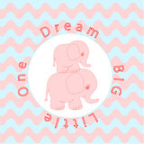 Nursery room wall decoration Baby poster Mother and baby animals, Cartoon baby elephant Stock Photo