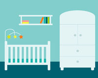 Nursery. Room with wardrobe, cradle and bookshelf Royalty Free Stock Photo