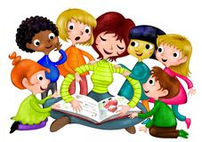 Nursery School. This is an illustration showing the teacher of a Nursery School reading a book to the children Stock Photos