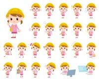 Nursery school girl. Set of various poses of Nursery school girl Stock Image
