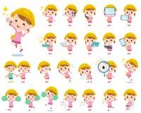 Nursery school girl 2. Set of various poses of Nursery school girl 2 Royalty Free Stock Photo
