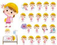 Nursery school girl About the sickness Stock Photos
