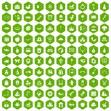 100 nursery school icons hexagon green. 100 nursery school icons set in green hexagon isolated vector illustration stock illustration