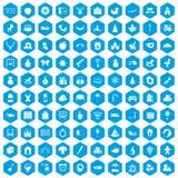 100 nursery school icons set blue. 100 nursery school icons set in blue hexagon isolated vector illustration vector illustration