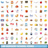 100 nursery school icons set, cartoon style. 100 nursery school icons set in cartoon style for any design vector illustration Vector Illustration