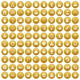 100 nursery school icons set gold. 100 nursery school icons set in gold circle isolated on white vector illustration Vector Illustration