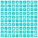 100 nursery school icons set grunge blue. 100 nursery school icons set in grunge style blue color isolated on white background vector illustration Vector Illustration