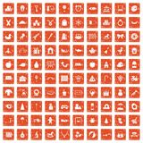 100 nursery school icons set grunge orange. 100 nursery school icons set in grunge style orange color isolated on white background vector illustration Stock Photography