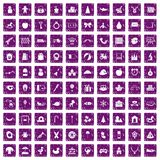 100 nursery school icons set grunge purple. 100 nursery school icons set in grunge style purple color isolated on white background vector illustration Stock Image