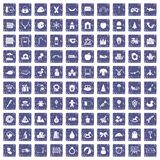 100 nursery school icons set grunge sapphire. 100 nursery school icons set in grunge style sapphire color isolated on white background vector illustration Royalty Free Stock Images