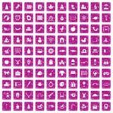 100 nursery school icons set grunge pink. 100 nursery school icons set in grunge style pink color isolated on white background vector illustration Stock Photography