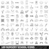 100 nursery school icons set, outline style. 100 nursery school icons set in outline style for any design vector illustration Stock Photo
