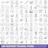 100 nursery school icons set, outline style Royalty Free Stock Photography
