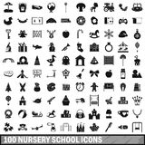 100 nursery school icons set, simple style. 100 nursery school icons set in simple style for any design vector illustration Stock Images