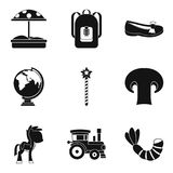 Nursery school icons set, simple style. Nursery school icons set. Simple set of 9 nursery school vector icons for web isolated on white background Stock Photography