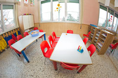 Nursery with small chairs and small desks. Classroom nursery with small chairs and small desks for children royalty free stock images