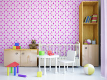 Nursery with a bed Stock Images