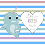 Nursery wall art Nursery room wall decor Baby narwhal Dream big little one quote Royalty Free Stock Images
