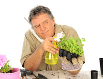 Nurseryman With Telephone Stock Images