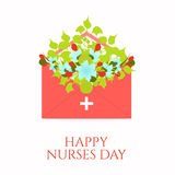 Nurses day poster. Happy nurses day poster with flowers in an envelope on white background. Medical concept. Vector illustration Stock Image