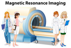 Nurses and doctors by the magnetic resonance imaging. Illustration Stock Photo