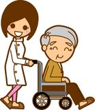 Nurses and elderly men. This is an illustration of a male nurse and nursing Royalty Free Stock Images