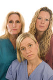 Nurses medical females serious expression Royalty Free Stock Image