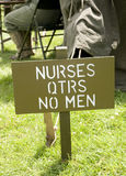 Nurses - No Men sign in US Army Camp Royalty Free Stock Photos