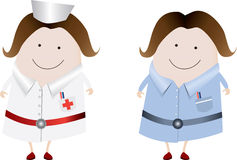 Nurses stereotype and uk. A  classic nurse and uk nurse character illustration, fully editable Royalty Free Stock Photography