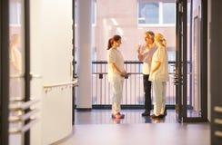 Nurses talking patient Stock Photo