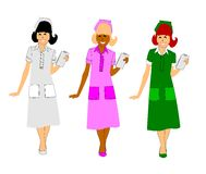 Nurses. 3 nurses in varying styles of uniform over white stock illustration