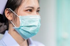 Nurses wear masks to protect against coronavirus covid19