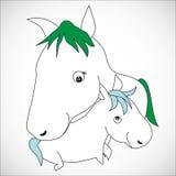Nursing Animal Cartoon Royalty Free Stock Photo