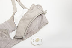 Nursing bra for mothers and Silicon nipples. moms bra with new disposable breast pad Prevents the flow of milk on the clothes. Nex Stock Photo