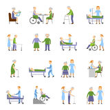 Nursing Elderly People Icons Set Stock Photos