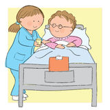 Nursing. Hand drawn picture of nurse caring for ederly patient. Illustrated in a loose style. Vector eps available Stock Image